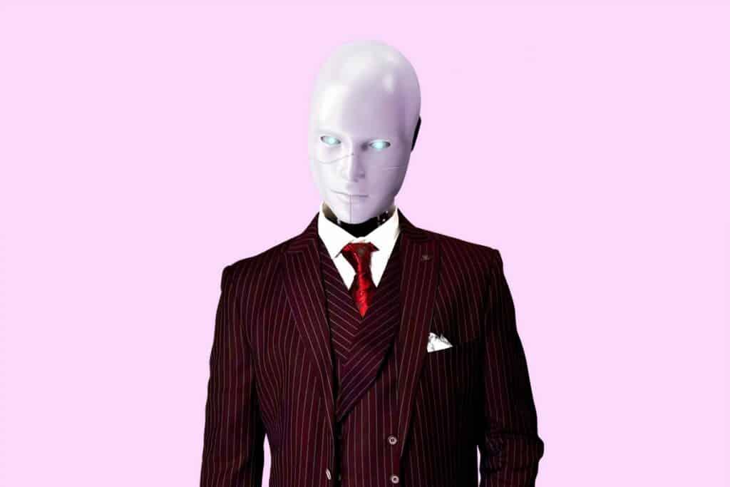 robot w garniturze